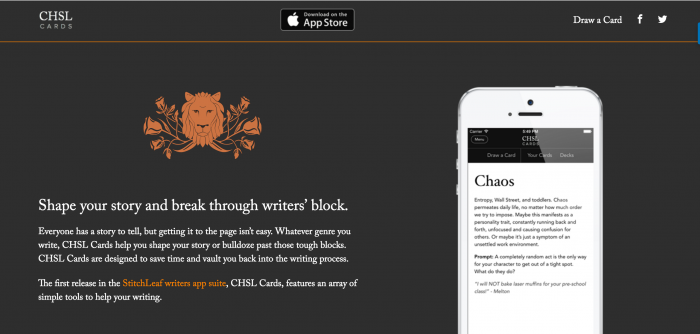 The CHSL Cards App - Helps With Writers Block