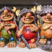 Norwegian trolls in a line