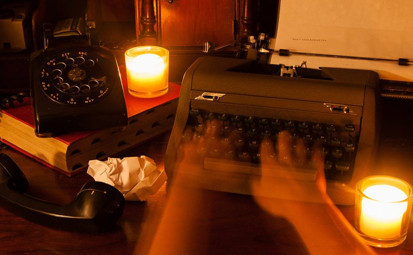 Ghostly hands on a typewriter